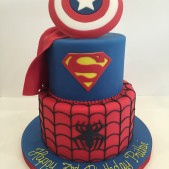 2 tier Spiderman and Superman