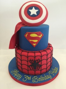 Spiderman and Superman cake