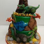 2 tier dinosaur cake