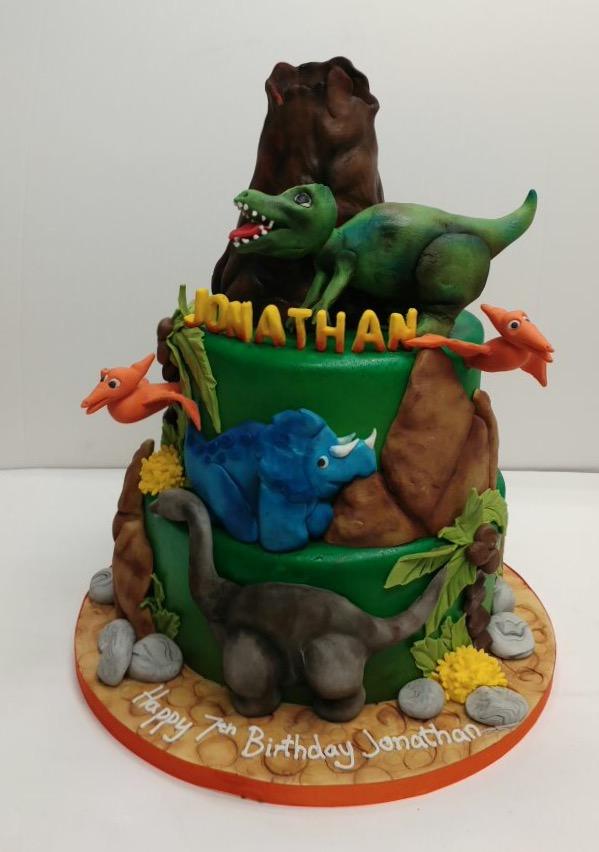 2 Tier Dinosaur Cake Cakes By Robin
