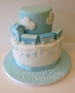 2 tier train christening cake