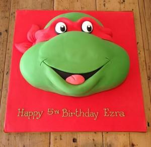 Teenage Mutant Ninja Turtle head birthday cake