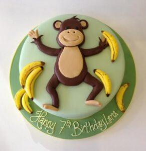 Monkey birthday cake jungle themed