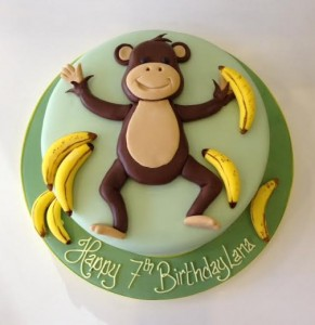 Cartoon monkey birthday cake