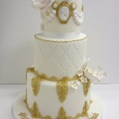 3 tier white and gold