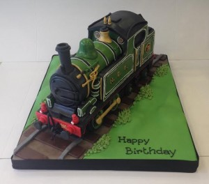 3D Steam train birthday cake