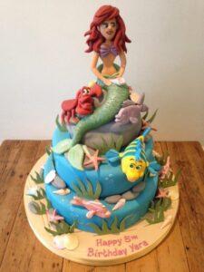 2 tier Mermaid Ariel birthday cake