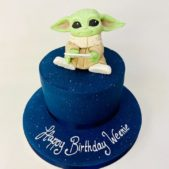 Baby Yoda themed birthday cake