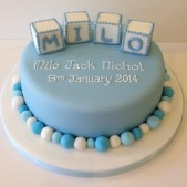 Baby blue bay block christening cake
