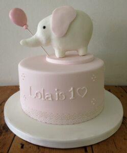 Baby elephant birthday and christening cake cake