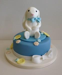 Baby shower rabbit cake