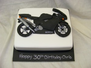 Motor bike model birthday cake