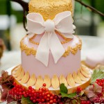 Ornate gold wedding cake