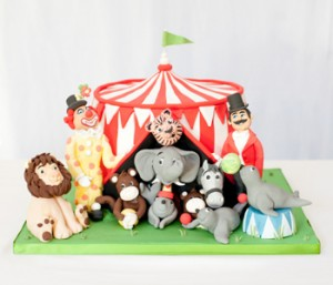 Big top circus themed birthday cake