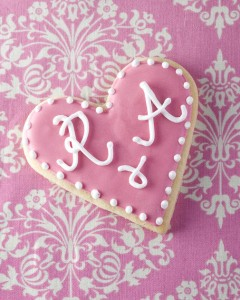 Bride and groom initial wedding favour cookies