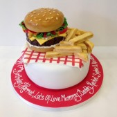 Sugar model burger and chips cakes