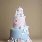 Rabbit and button baby shower cake