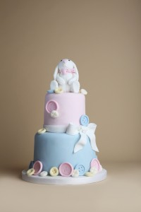 Rabbit baby shower cake