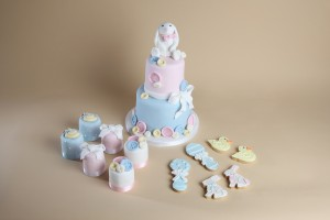 Rabbit bunny baby shower cakes and cookies