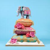 Indian elephant cushion henna wedding cake