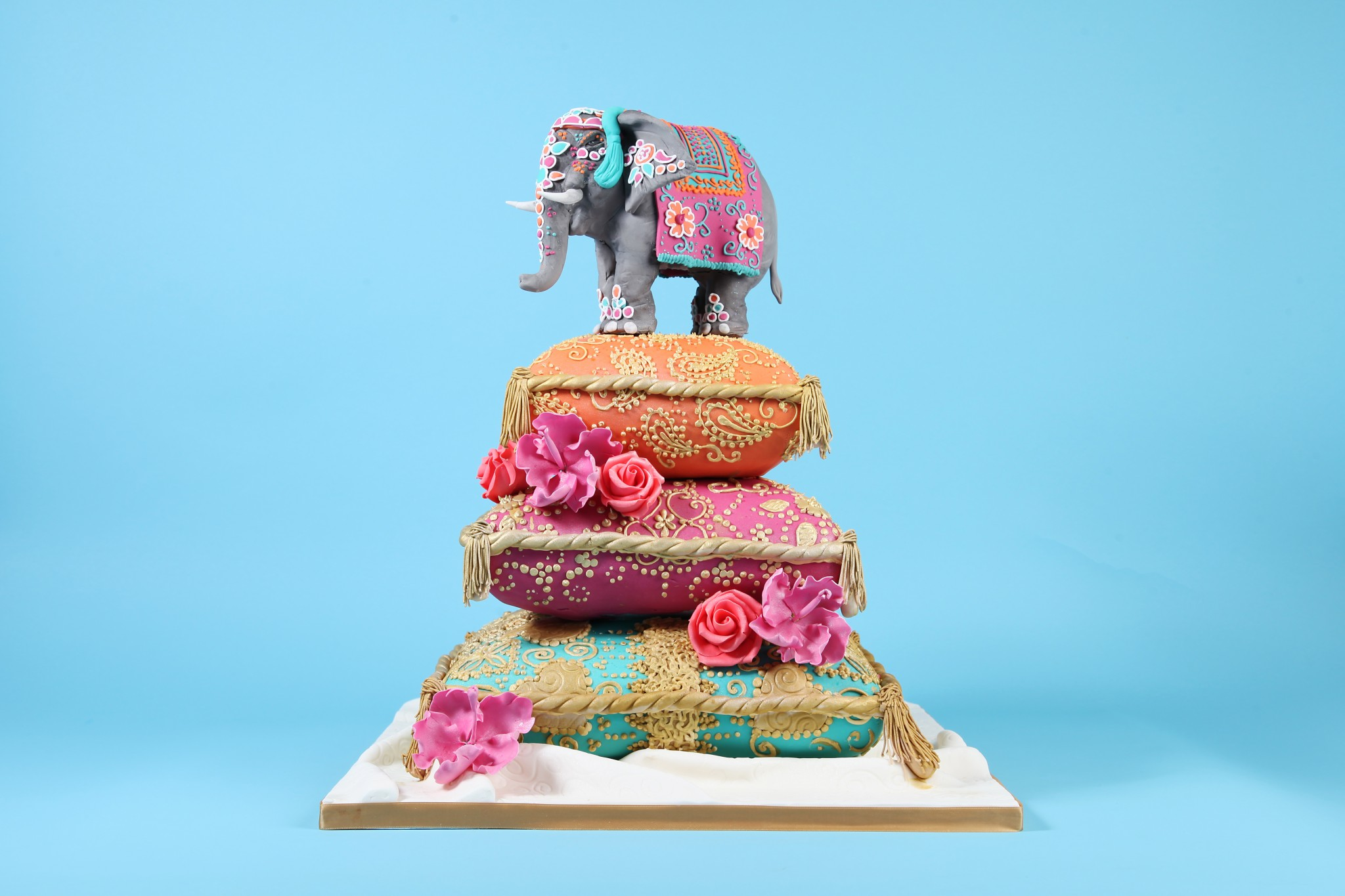 Indian Elephant Cushion Henna Wedding Cake