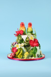 Sugar model Love Birds wedding cake Tropical theme wedding cake