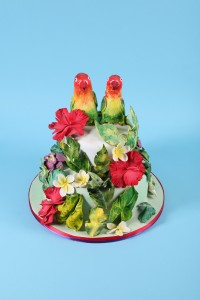 2 tier Love Birds tropical wedding cake