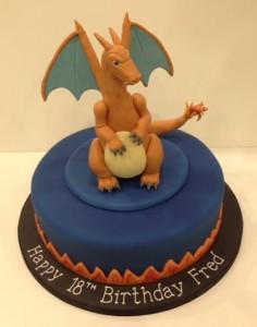 Pokemon Charizard birthday cake sugar model