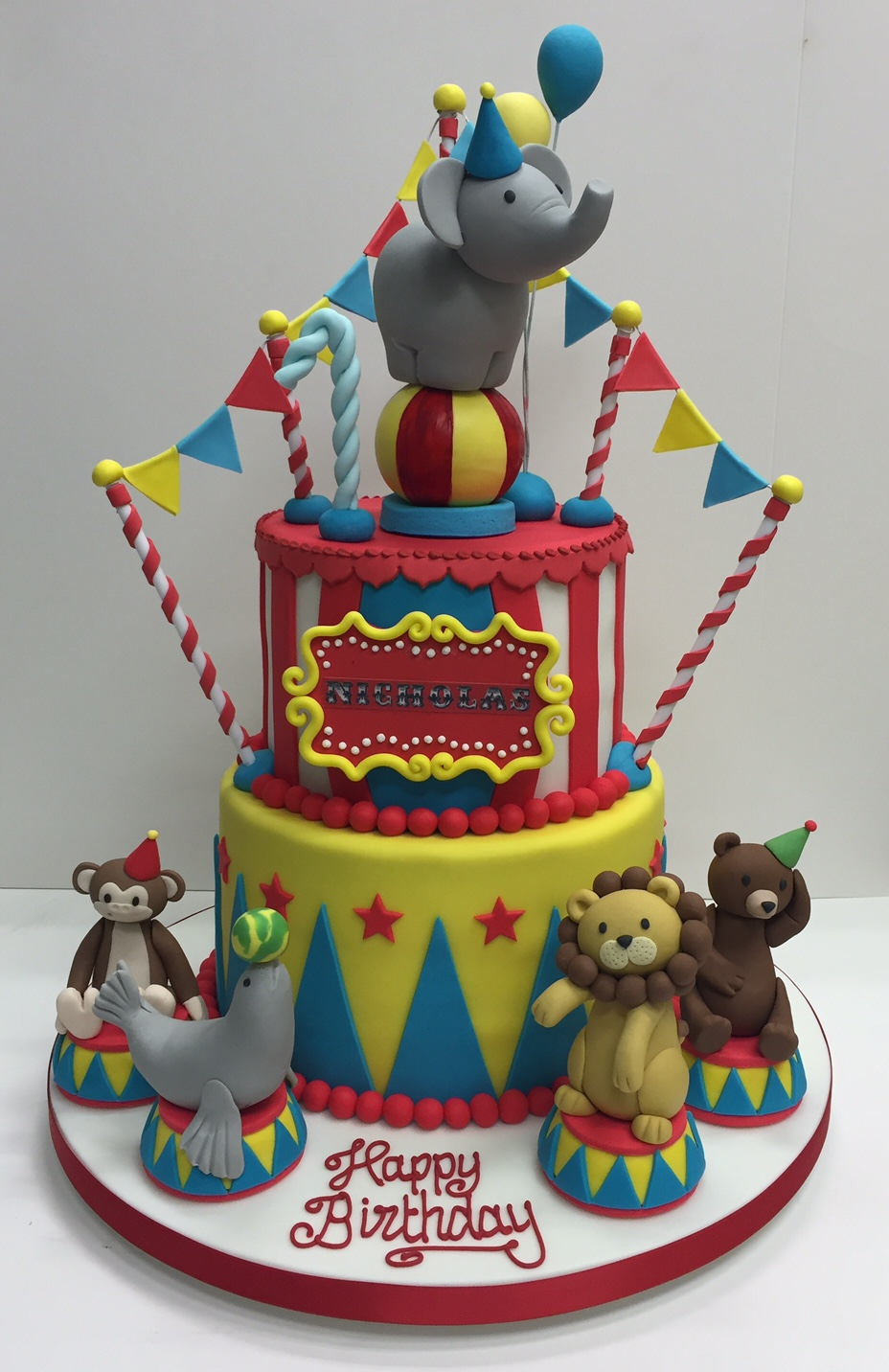 Groovy Circus Themed Childrens Birthday Party Cakes By Robin Personalised Birthday Cards Veneteletsinfo