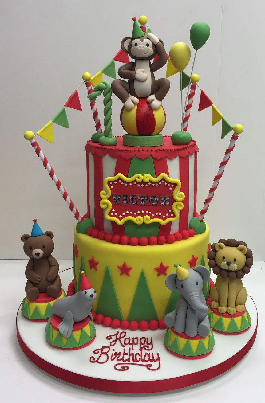 Peachy Circus Themed Childrens Birthday Party Cakes By Robin Funny Birthday Cards Online Elaedamsfinfo