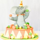 Circus elephant birthday cake
