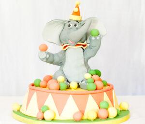 Circus elephant birthday cake