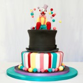 Clown and ringmaster circus cake