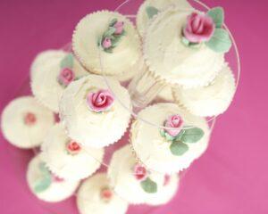 Sugar rose cupcake tower