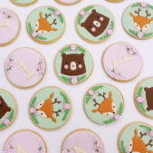 Cute woodland animals themed birthday biscuits