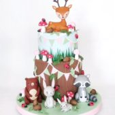 Cute woodland animals themed cake