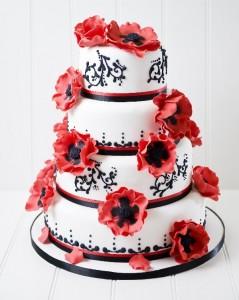Poppy flowers wedding cake