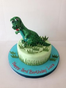 Dinosaur themed birthday cake