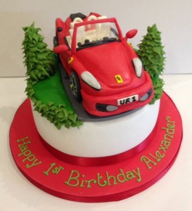 Sugar model Ferrari birthday cake