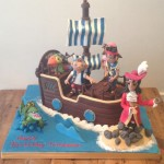 Finished Jake and the Neverland Pirates ship birthday cake