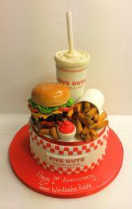 Five Guys burger corporate anniversary cake