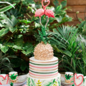 Tropical party cake with pineapple top
