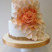 Flower flowing wedding cake