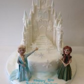 Frozen Palace cake with Princess sugar models
