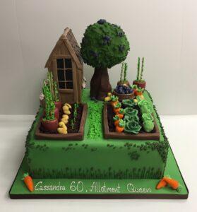 Allotment themed birthday cake