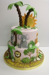 Girly jungle birthday cake