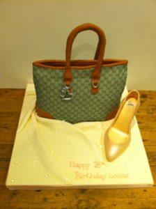 Gucci handbag and shoe birthday cake