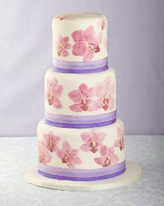Hand painted orchid wedding cake