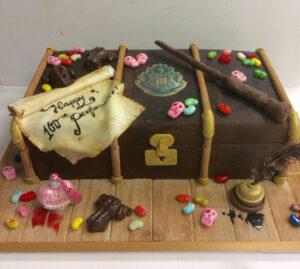 Harry Potter suitcase celebratory cake for JK Rowling