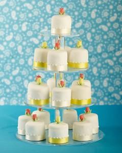 Iced mini cakes tower